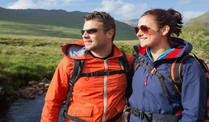 Man and Woman In Waterproof Hiking Jackets