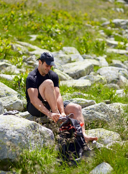 Hiker Changing Clothes