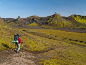 Hiker with Trekking Poles on Laugavegur Trek Iceland