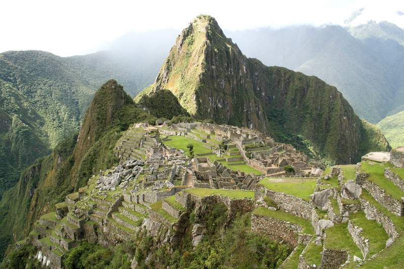 Landscape View of the ancient Incan Lost City of Machu Picchu