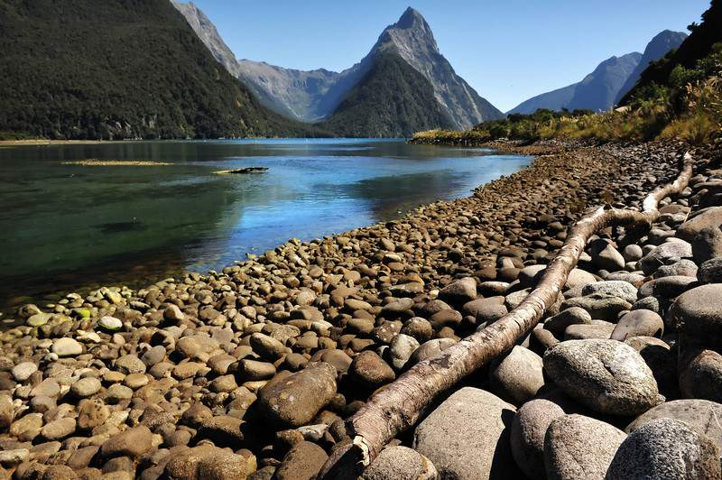 Mitre Peak in New Zealand Fiordland at Milford Sound