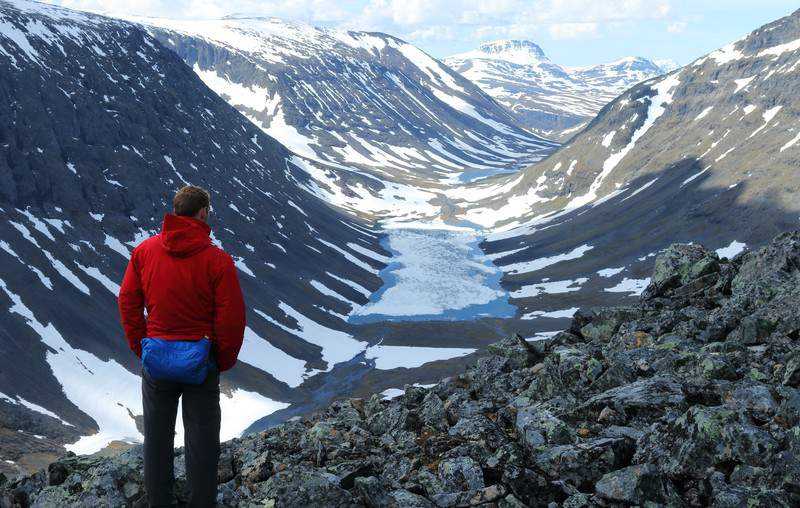 View on the Kungsleden hiking trail in Sweden