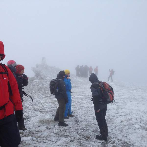 Hiking Group In Bad Weather