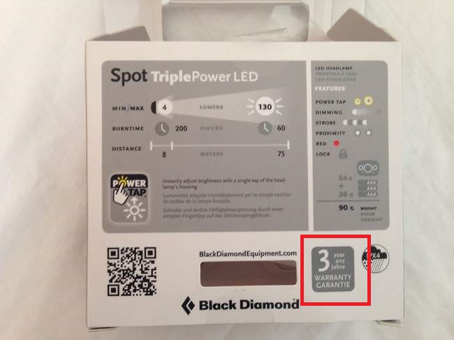 Black Diamond Spot Warranty