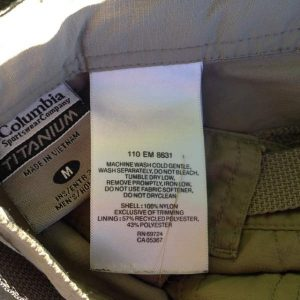 Hiking Pants Label