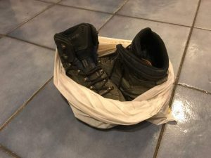 Hiking Boots in a Plastic Bag