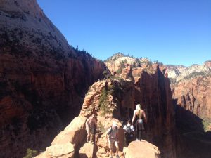 People On The Ridge On Angels Landing