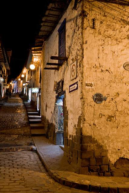 A Cusco Street at Night