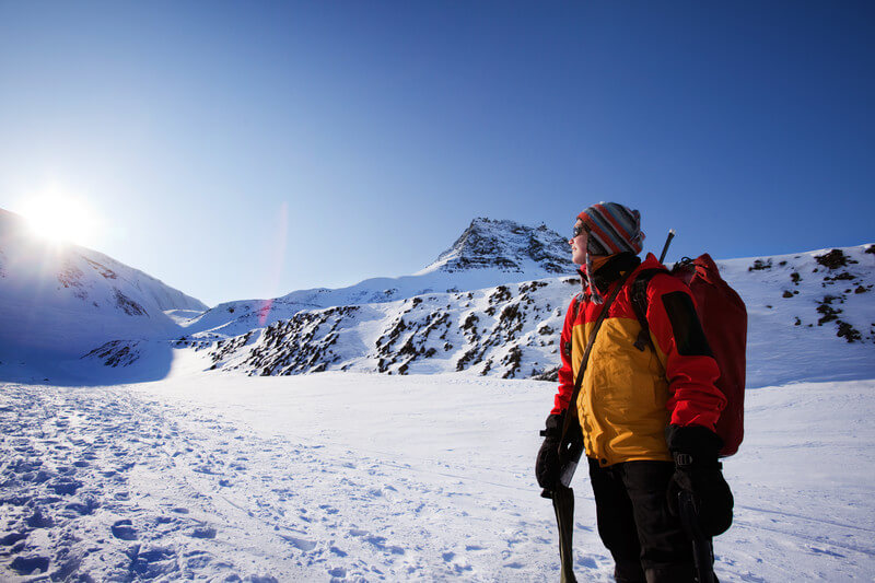 Mountaineer In Snowy Mountains