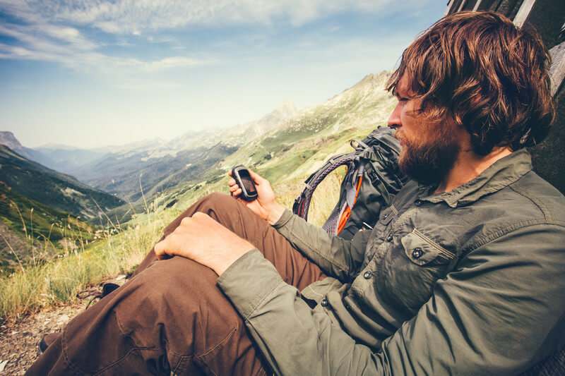 Hiker with a GPS